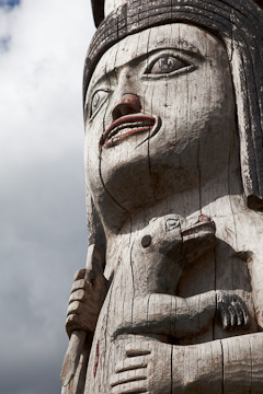 Totem pole in front of the Juneau-Douglas City Museum