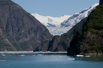 First glimpse of South Sawyer Glacier, at the end of Tracy Arm