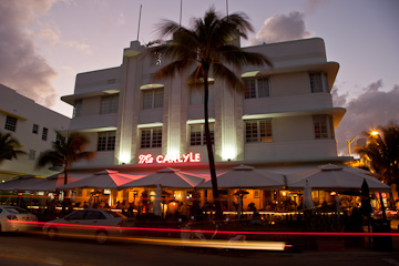 The Carlyle on Ocean Drive, Miami Beach, at twilight