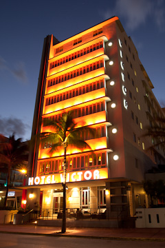 Hotel Victor on Sunset Drive, Miami Beach, at twilight