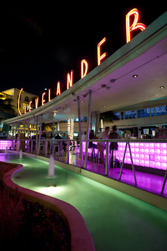 The bar at the Clevelander, Ocean Drive, Miami Beach, at night