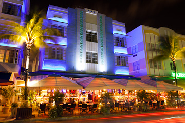 The Park Central on Ocean Drive, Miami Beach, at night
