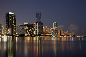 Miami skyline, from the causeway to Key Biscayne, Miami, at night