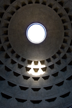 Looking up, inside the Pantheon