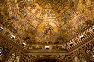 Baptistry mosaiced ceiling