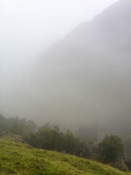 A misty view into the Lost Valley, Glencoe, Scotland