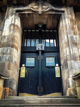 Front door to the Mackintosh-designed Glasgow School of Art, Glasgow, Scotland