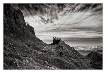 The Quiraing, Isle of Skye, Scotland - black & white